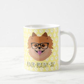 Pomeranian Dog In Nerd Glasses | POMER-BRAINY-AN Coffee Mug
