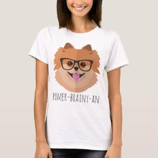 Pomeranian Dog In Nerd Glasses | POMER-BRAINY-AN T-Shirt