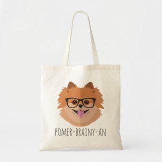 Pomeranian Dog In Nerd Glasses   POMER-BRAINY-AN Tote Bag