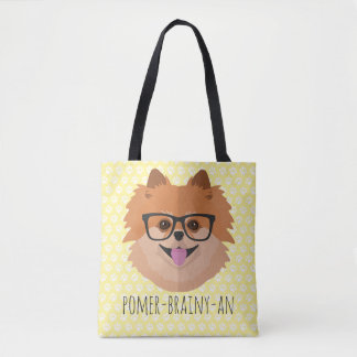 Pomeranian Dog In Nerd Glasses | POMER-BRAINY-AN Tote Bag