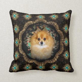 Pomeranian dog on Retro Mandala Hippie Cushion Throw Pillows