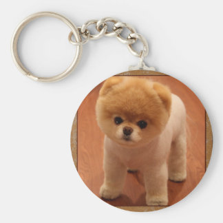 Pomeranian Dog Pet Puppy Small Adorable baby Basic Round Button Keychain