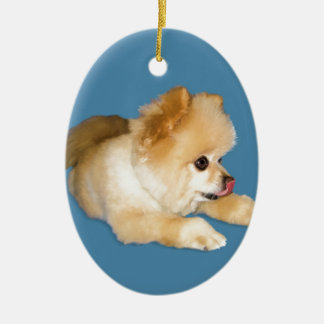 Pomeranian Dog Sticking Tongue Out Double-Sided Oval Ceramic Christmas Ornament