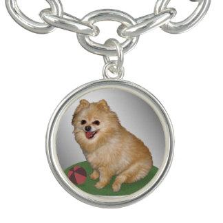 Pomeranian Dog with Ball Customizable Charm Bracelets