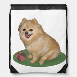 Pomeranian Dog with Ball Customizable Drawstring Bag