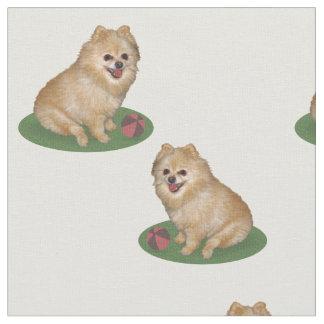 Pomeranian Dog with Ball Customizable Fabric