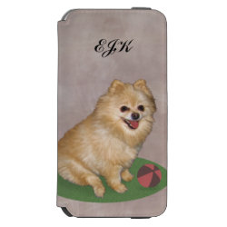 Pomeranian Dog with Ball Customizable Monogram iPhone 6/6s Wallet Case