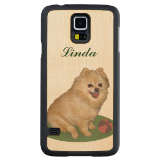 Pomeranian Dog with Ball Customizable Name Carved Maple Galaxy S5 Case