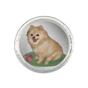 Pomeranian Dog with Ball Customizable Ring