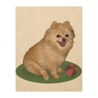 Pomeranian Dog with Ball Customizable Wood Wall Decor
