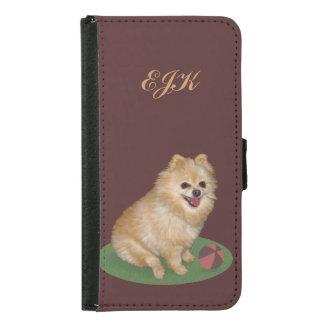 Pomeranian Dog with Ball, Monogram Samsung Galaxy S5 Wallet Case