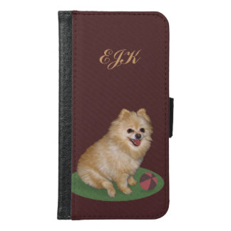 Pomeranian Dog with Ball, Monogram Wallet Phone Case For Samsung Galaxy S6