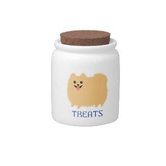 Pomeranian Doggie Treats - Cute Dog with Text Candy Jars