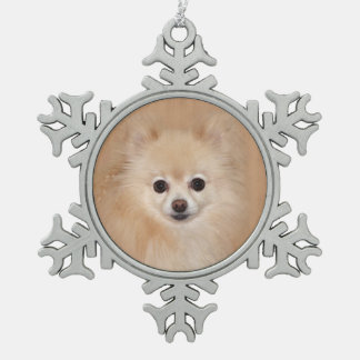 Pomeranian face snowflake pewter christmas ornament