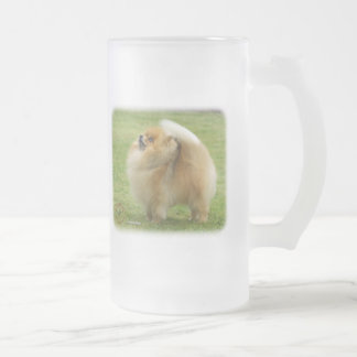 Pomeranian Frosted Glass Beer Mug