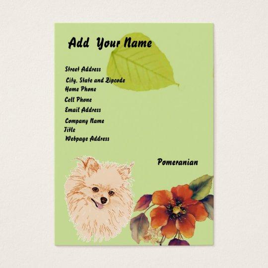 Pomeranian - Green Leaf Design Business Card