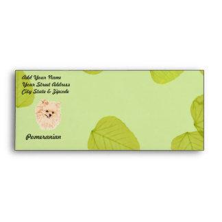 Pomeranian - Green Leaf Design Envelope