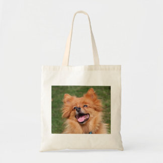 Pomeranian happy dog tote bag, gift idea budget tote bag