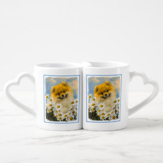 Pomeranian in Daisies Coffee Mug Set