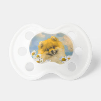 Pomeranian in Daisies Pacifier