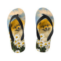 Pomeranian in Daisies Painting - Original Dog Art Kid's Flip Flops