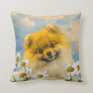 Pomeranian in Daisies Throw Pillow