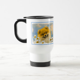 Pomeranian in Daisies Travel Mug