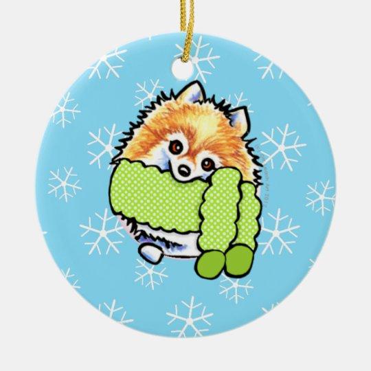 Pomeranian Let it Snow Ceramic Ornament