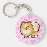 Pomeranian Love Basic Round Button Keychain