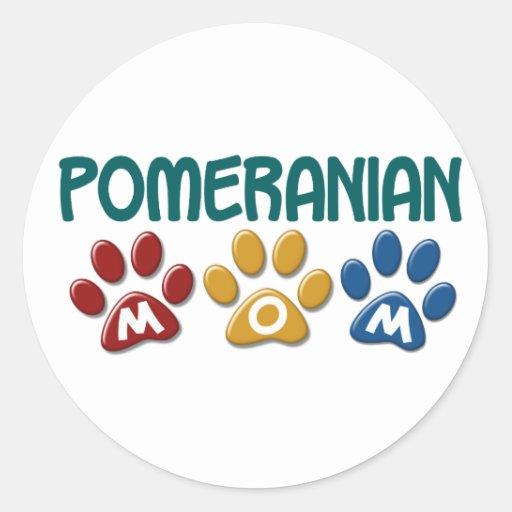 POMERANIAN Mom Paw Print 1 Round Sticker