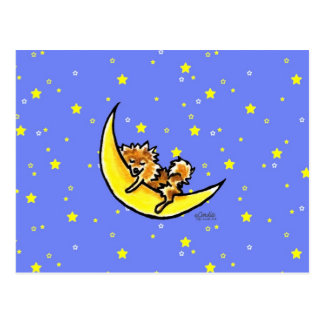 Pomeranian Moon Postcard