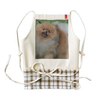 Pomeranian mullido delantal zazzle HEART