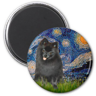 Pomeranian (negro) - noche estrellada imán redondo 5 cm
