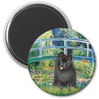 Pomeranian (negro) - puente iman para frigorífico