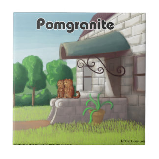 Pomeranian On Granite (Pomegranite) Funny Tile