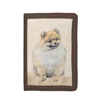 Pomeranian (Orange) Painting - Original Dog Art Trifold Wallet