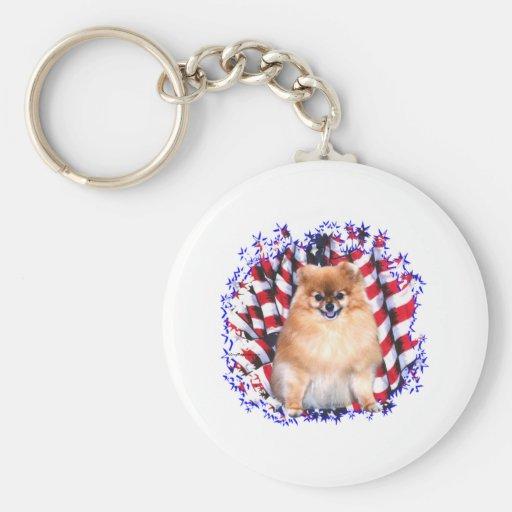 Pomeranian Patriot Keychains