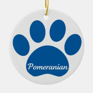 Pomeranian Paw Blue Christmas Ornament