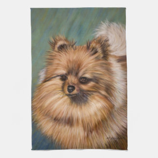 Pomeranian - Peaches and Cream Kitchen Towel