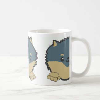 pomeranian peeking blue and tan coffee mug