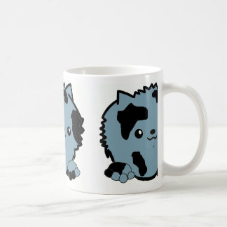 pomeranian peeking blue merle coffee mug