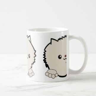 pomeranian peeking cream coffee mug