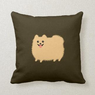 Pomeranian - perro lindo en color del chocolate cojín