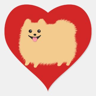 Pomeranian - Pommy lindo estupendo en rojo Pegatina En Forma De Corazón