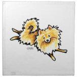 Pomeranian poner crema lindo servilletas