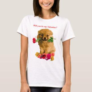 Pomeranian Puppy Be My Valentine Roses T-Shirt