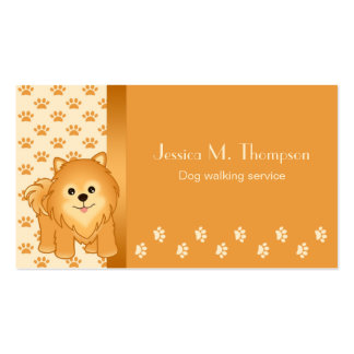 Pomeranian Puppy Dog Pet Services Double-Sided Standard Business Cards (Pack Of 100)