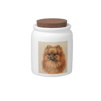 Pomeranian Red Dog Treat Candy Jar