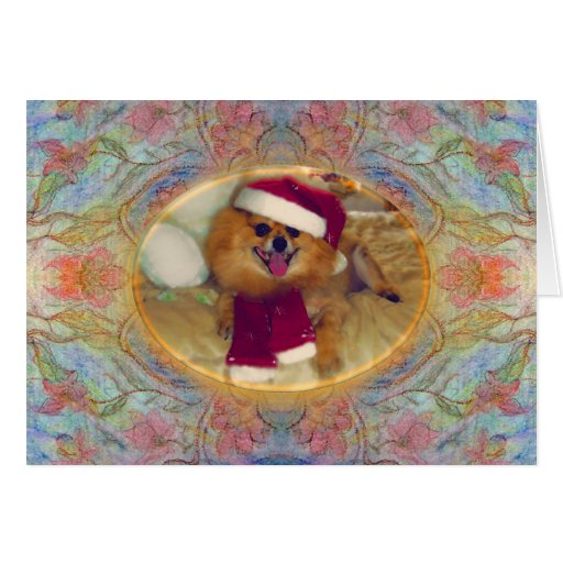 Pomeranian Santa Christmas Card with pastel art.
