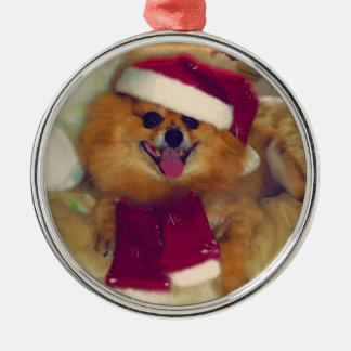 Pomeranian Santa Christmas Metal Ornament
